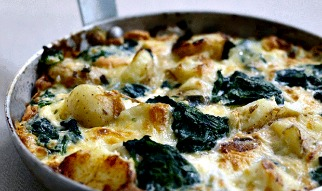 Potato Spinach and cheddar frittata